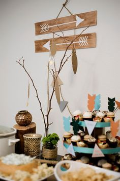tribal party decor for the cake table