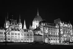 Equestrian Statue And Hungarian Parliament Bw - by Joan Carroll  #budapest #parliament #blackandwhite