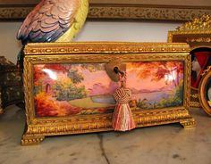 Large Antique French Enamel & Bronze Jewelry Casket / Box from theantiqueboutique on Ruby Lane
