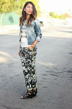 printed pants with a graphic tee