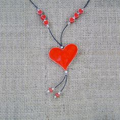 Valentine's Day Gift, Heart Ceramic Necklace, Cute Red Heart Pendant, Heart Pendant, Gift For Her