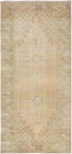 Hand-knotted Antique Anatolian Beige, Ivory Wool Rug