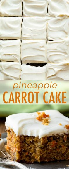 The best carrot cake recipe I've ever had is this pineapple carrot cake with cre. - The best carrot cake recipe I've ever had is this pineapple carrot cake with cream cheese frosting! Moist, spiced, and so easy! Recipe on sallysbaking. Carrot Cake With Pineapple, Best Carrot Cake, Carrot Sheet Cake Recipe, Carrot Cake Bars, Homemade Carrot Cake, Keto Cookies, Cupcakes, Cupcake Cakes, Food Porn
