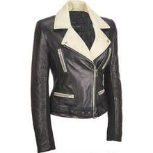 Leather Moto Jacket.  This Cream and Black Leather Moto Jacket was part of the gift package given to me, and it's another of my favorites.  I love leather, hate pleather aka PU leather, it's fake.