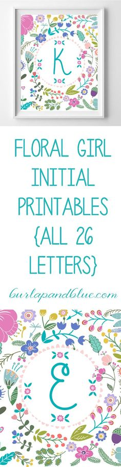 floral girl initial free printables--all 26 letters available! In shades of pink, turquoise, mustard and green--perfect for a nursery or baby shower decor! (kids arts and crafts free printables) Free Printable Art, Free Printables, Printable Quotes, Printable Letters, Printable Labels, Girl Nursery, Girl Room, Nursery Art, Nursery Ideas