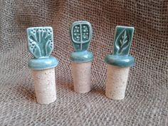 Ceramic BOTTLE STOPPERS and Cork by Manomissioni on Etsy