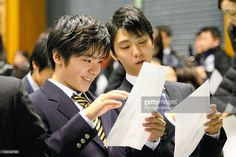Shoma Uno and Yuzuru Hanyu attend the opening ceremony ahead of the 2015 Japan Figure Skating Championships at the Makomanai Ice Arena on December 24, 2015 in Sapporo, Hokkaido, Japan.