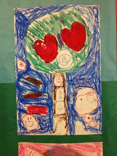 Kindergarten Artist     Apple Print and Pastel Drawing