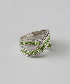 Silver & Peridot Crisscross Ring (Y's birthstone)