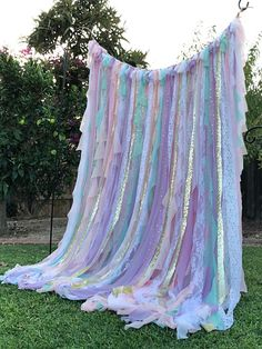 Ready in 3 weeks, need it ASAP? RUSH MY BACKDROP! http://etsy.me/2vjKMh3 Create a magical unicorn themed party for your little one, with this stunning pastel curtain! Premium backdrop made with quality materials in beautiful textures and colors! Chalk full of beautiful fabric in