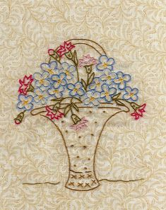 Silk Ribbon Embroidery, Crewel Embroidery, Vintage Embroidery, Embroidery Patterns Free, Embroidery Designs, Quilting Projects, Sewing Projects, Crazy Quilt Stitches, Flower Baskets