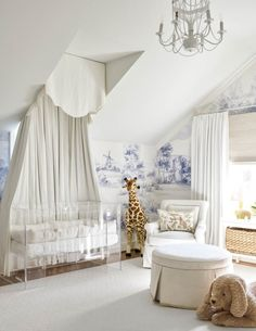 Outdated Nursery Decor Trends And How To Replace Them white nursery with beautiful toile wallpaper This image has get Nursery Room Decor, Nursery Design, Girl Nursery, Bedroom Decor, Bedroom Sets, Bedroom Furniture, Chic Nursery, Girl Room, Toile Wallpaper