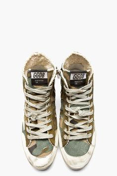 GOLDEN GOOSE Green camouflage FRANCY High-top sneakers