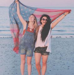 4th of July - american flag & girls on the beach!