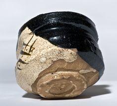 Early Edo Period Kuro Oribe Chawan with wood box and shifuku