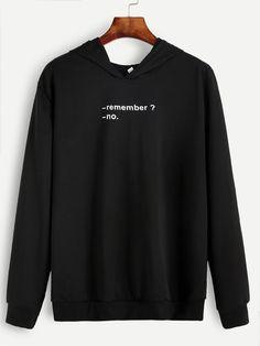 Black Letter Print Hooded Sweatshirt Mobile Site