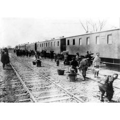 1900s Chinese Workers Railroad Train Cars in China - 5x7 Photo