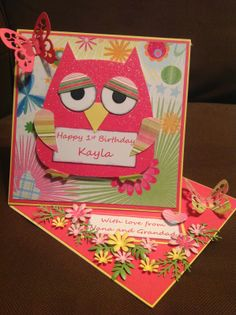 my handcrafted cards: Sizzix owl girls first birthday twisted easel card by Sherie of franklinanddelilah. 1st time I've used this die and I'm quite pleased with the result!
