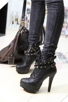 Buckle and Studs Embellished High-Heeled Boots Wish