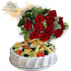 12 Red Roses with Fruit Cake : buy flowers online, buy cake online, send flowers, cakes to India