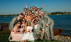 Group bridal party photo. Bought everyone aviator sunglasses so they would match