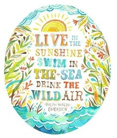 Live in the sunshine, swim in the sea and drink the wild air- emerson