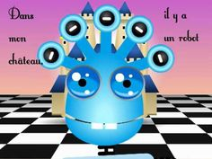 French nursery rhyme with actions and movement. Target audience: Kindergarten, Early Years and children. Lyrics: Dans mon château, Il y a un robot Qui ma. Movement Songs, French Nursery, French Songs, Core French, French Resources, Ways Of Learning, Teaching French, Kids Songs, Learn French