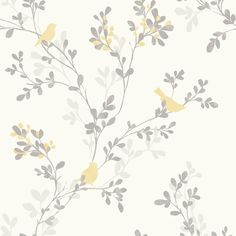 Nadia Soft Lemon Trees with Birds Mica Wallpaper | Departments | DIY at B&Q