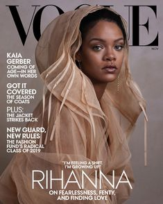 Vogue US released its November 2019 cover starring none other than Rihanna. Captured by photographer Ethan James Green and clothed in a Fenty tulle coat, the. Rihanna Vogue, Rihanna Cover, Mode Rihanna, Rihanna Fenty, Rihanna Style, Rihanna Makeup, Rihanna Fashion, Vogue Covers, Vogue Magazine Covers