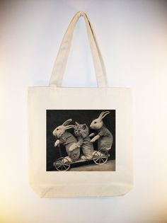 Whimsical Bunnies and Kitten on Wagon Vintage Image 15x15 Canvas Tote -- larger zip top tote style available