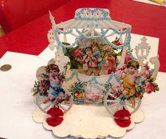 Large VICTORIAN to 20s Antique VALENTINE Pop Up 3D Angel Cherub Rose GERMANY