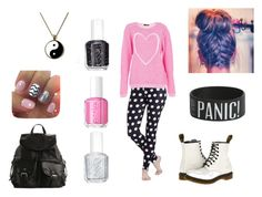 Saturday by lovepeace97 on Polyvore featuring Quiz, Dr. Martens, Mix No. 6, Essie, Pink, DrMartens, PolkaDots and backpack