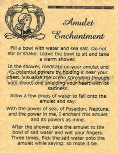 Amulet Enchantment, Book of Shadows Spell Page, Witchcraft, Wicca, BOS