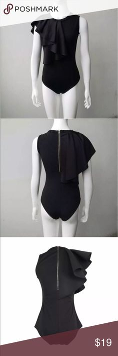 NWOT Women's black knit zipper bodysuit ruffle Brand new, never worn. Zipper back, sleeveless bodysuit. Great for date night, girls night out or club, sexy. Stretchy and comfortable. Looks great with jeans, shorts and skirts unbranded Tops