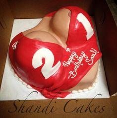 21st birthday boob cake by Shandi Cakes