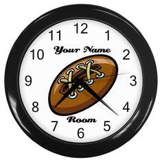 Custom Personalized Laced Football Plastic Black Frame Novelty Child Wall Clock #CustomMade #Novelty