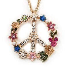 Long Multicoloured Diamante 'Peace' Pendant Necklace In Gold Metal - 80cm Length Avalaya. $26.01. Occasion: party, club night out, cocktail party, casual wear. Theme: floral. Gemstone: diamante. Material: enamel. Metal Finish: gold plated