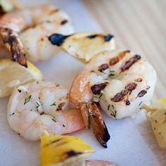 Shrimp and Lemon Skewers with Feta-Dill Sauce   Food & Wine
