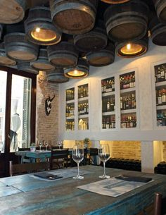 Casa Guinart Restaurant's Wine Barrel Ceiling Lamps - 4 Deco Design, Cafe Design, House Design, Interior Design, Wine Bar Design, Interior Modern, Design Design, Design Ideas, Deco Restaurant