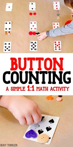 Playing Cards Math Activity - what an awesome idea to help kids learn one to one correspondence; easy math for toddlers and preschoolers
