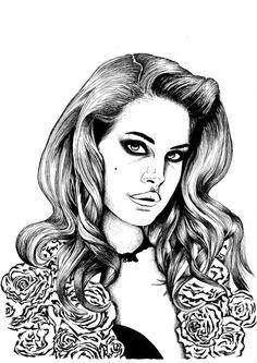 A3 Fineliner Illustration of Lana Del Rey by sarahjanemckevitt, $24.00