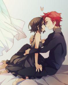 ✮ ANIME ART ✮ anime couple. . .romantic. . .love. . .sweet. . .stare. . .almost kissing. . .bed. . .heart. . .cute. . .kawaii