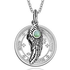 Archangel Michael Sigil Amulet Magic Powers Angel Wing Charm Green Quartz Pendant 22 Inch Necklace * You can get more details by clicking on the image.