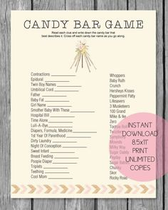 24 Ideas Baby Shower Games And Prizes Babyshower Candy Bars For 2019 Boho Baby Shower, Bebe Shower, Baby Shower Candy, Baby Shower Prizes, Baby Shower Games, Baby Boy Shower, Shower Favors, Shower Gifts, Shower Party