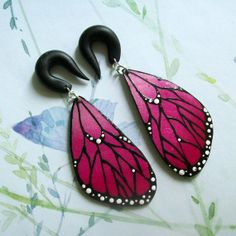 Medium Fuschia Butterfly Wings Gauges by TheCreatorsCreations, $47.00