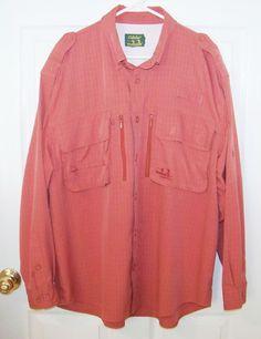 Mens Cabelas GuideWear Shirt XL Nylon Vented Fishing Orange Long Sleeve #Cabelas…