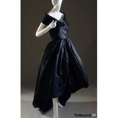 Evening dress      People and Brands:  Designer: Balenciaga  Medium: Black silk gazar  Date: Fall 1957