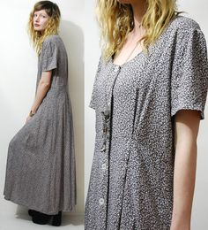 BEA:  1995 flashback  midi and ankle length floral dresses were very common in the mid 90s, especially paired with a jean jacket, staw hat, and doc martins  90s Vintage FLORAL Dress GRUNGE vtg BABYDOLL Button down 1990s Slouch Smock Oversized Long Maxi Dark S M