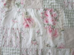 SHABBY Cottage CHIC Style Floral FULL/DOUBLE DUVET Cover 80x90 ROSES Pink Green
