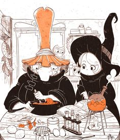 Witchpastry Lesson, by Yllya ★ || CHARACTER DESIGN REFERENCES (www.facebook.com/CharacterDesignReferences & pinterest.com/characterdesigh) • Do you love Character Design? Join the Character Design Challenge! (link→ www.facebook.com/groups/CharacterDesignChallenge) Share your unique vision of a theme every month, promote your art, learn and make new friends in a community of over 16.000 artists who share your same passion! || ★